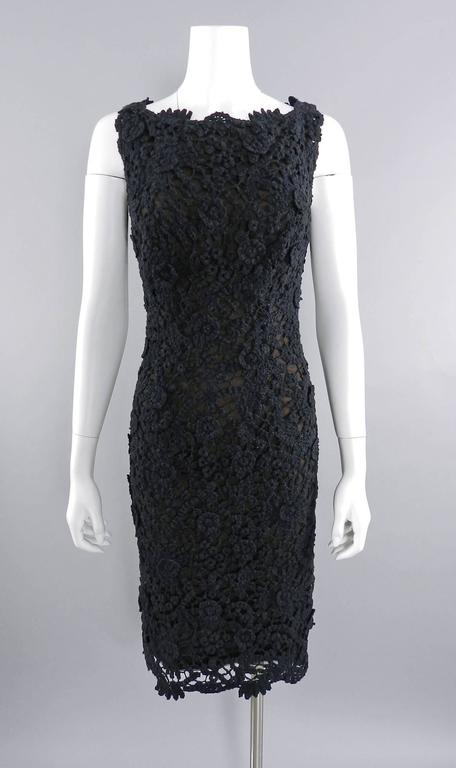 Pierre Balmain Haute Couture by Oscar de La Renta Black Lace Dress 1990's For Sale 4
