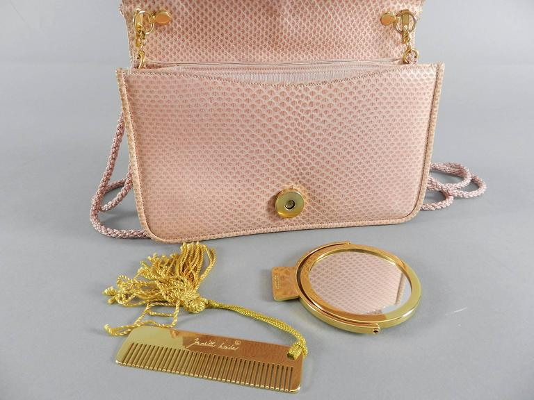 Judith Leiber Pink Lizard Bag with Tassels 7