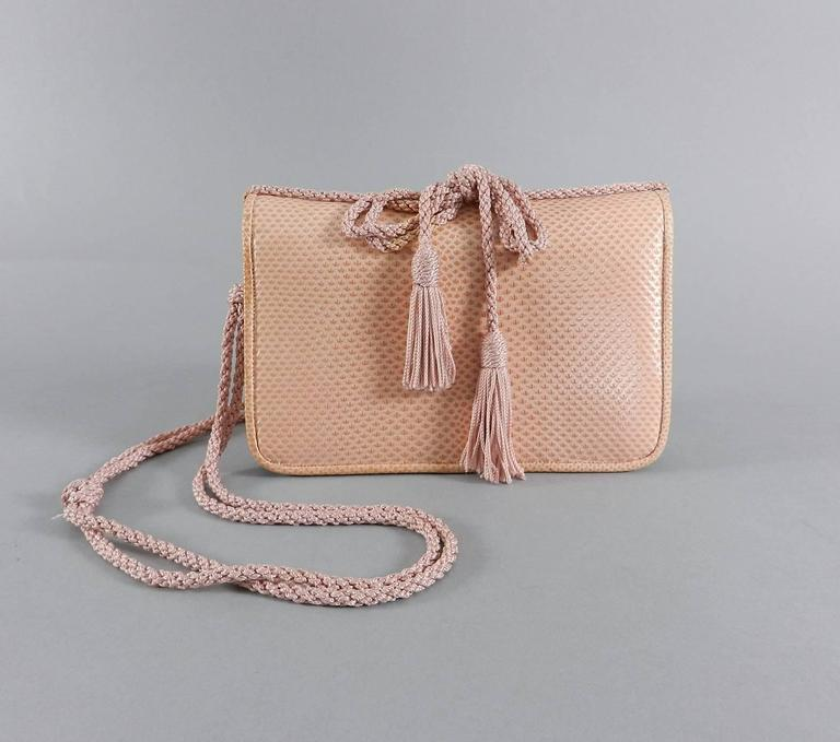 Judith Leiber Pink Lizard Bag with Tassels 8