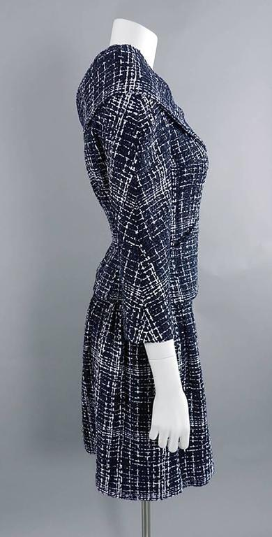 Chanel 14P Runway Navy and White off Shoulder Skirt Suit 5