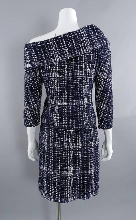 Chanel 14P Runway Navy and White off Shoulder Skirt Suit 6