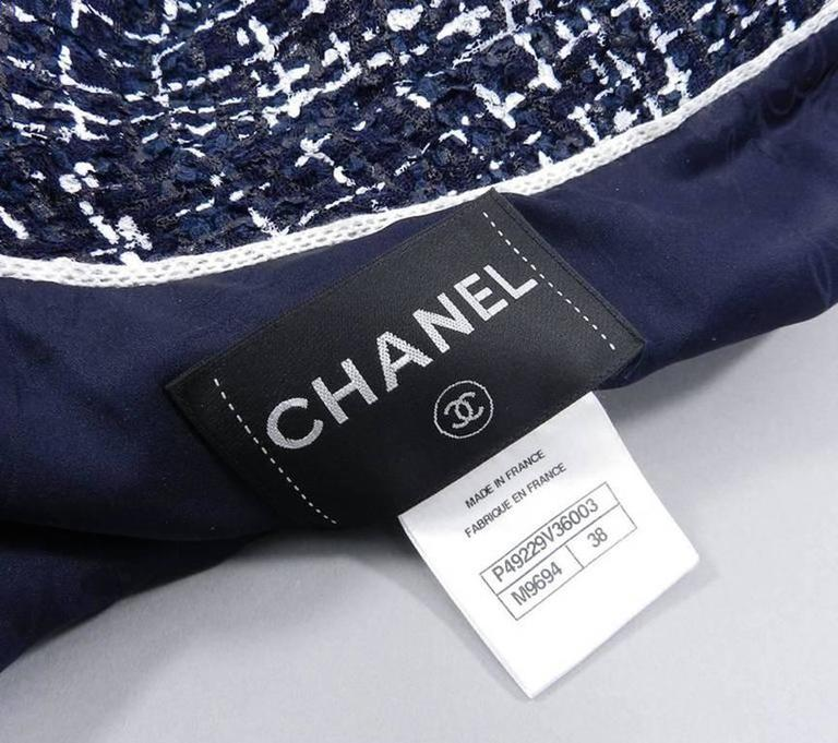 Chanel 14P Runway Navy and White off Shoulder Skirt Suit 7