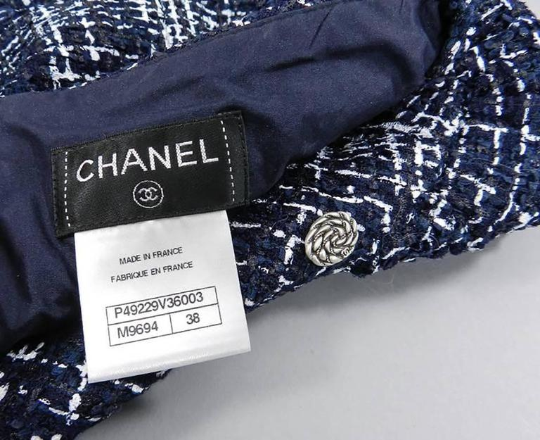 Chanel 14P Runway Navy and White off Shoulder Skirt Suit 8