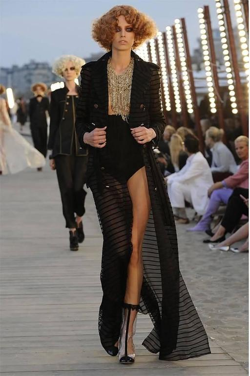 Chanel 10c Long Black Sheer Striped Evening Trench Coat Dress 2
