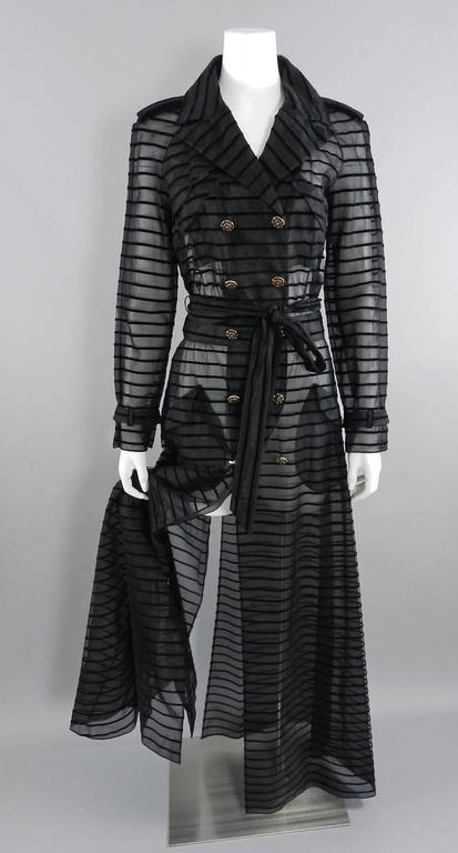 Chanel 10c Long Black Sheer Striped Evening Trench Coat Dress 3