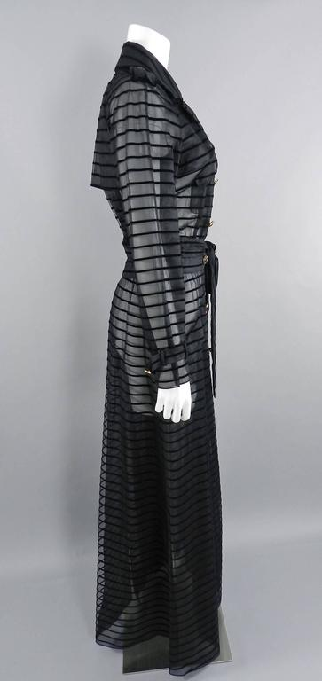 Chanel 10c Long Black Sheer Striped Evening Trench Coat Dress 4