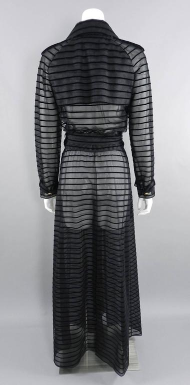 Chanel 10c Long Black Sheer Striped Evening Trench Coat Dress 5