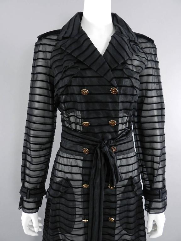 Chanel 10c Long Black Sheer Striped Evening Trench Coat Dress 6