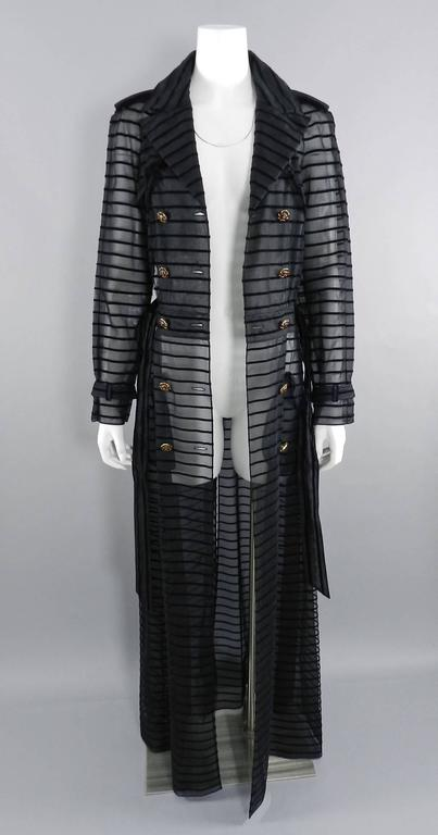 Chanel 10c Long Black Sheer Striped Evening Trench Coat Dress 9