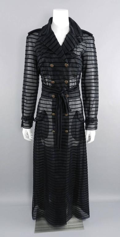 Chanel 10c Long Black Sheer Striped Evening Trench Coat Dress 10