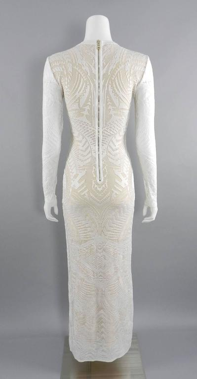 Balmain Long White Lace Stretch Dress with Nude Lining 2