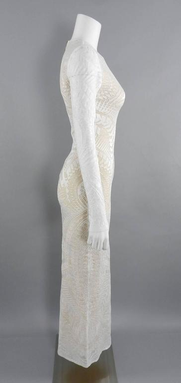 Balmain Long White Lace Stretch Dress with Nude Lining 3