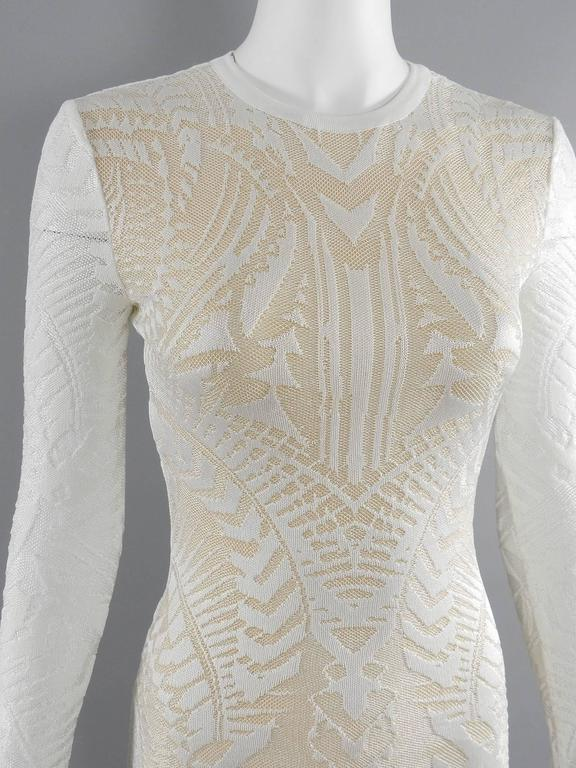 Balmain Long White Lace Stretch Dress with Nude Lining 4