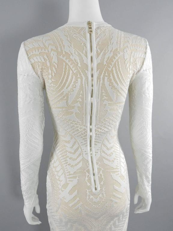 Balmain Long White Lace Stretch Dress with Nude Lining 5
