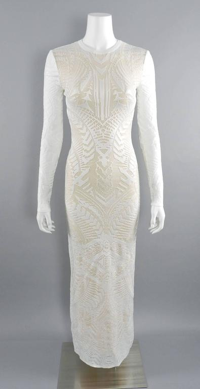 Balmain Long White Lace Stretch Dress with Nude Lining 8