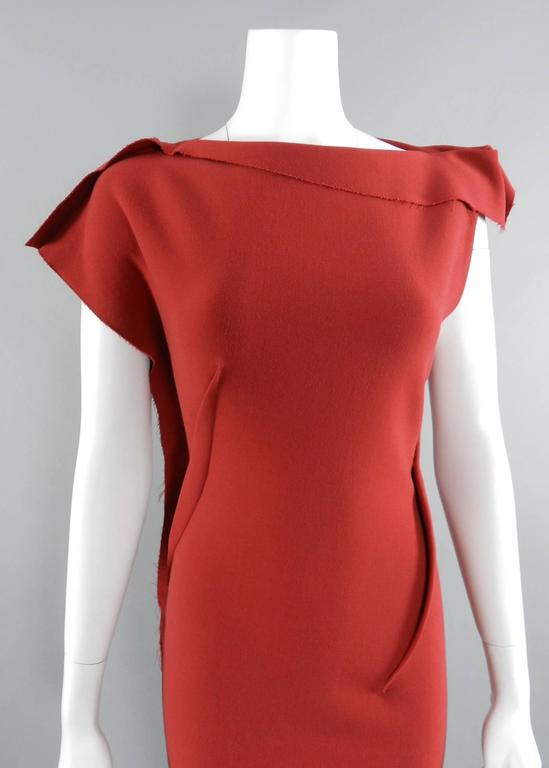 Lanvin Red Fitted Dress with Raw Edges 2