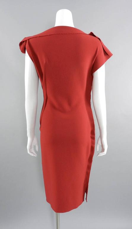 Lanvin Red Fitted Dress with Raw Edges 4