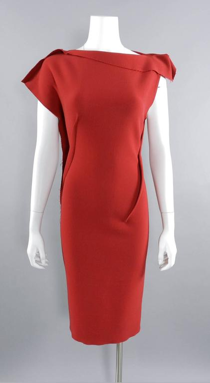 Lanvin Red Fitted Dress with Raw Edges 7