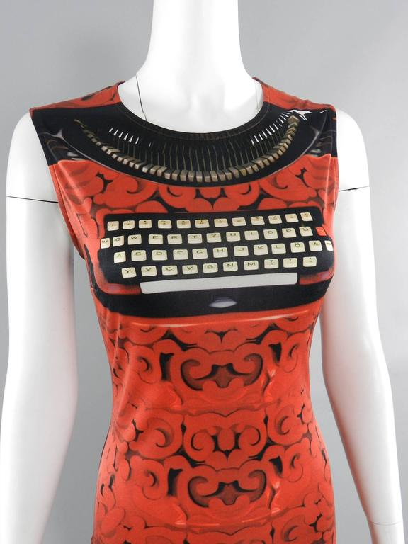 Mary Katrantzou Silk Jersey Typewriter Dress In Excellent Condition For Sale In Toronto, ON