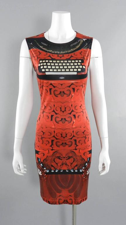 Mary Katrantzou Silk Jersey Typewriter Dress For Sale 2