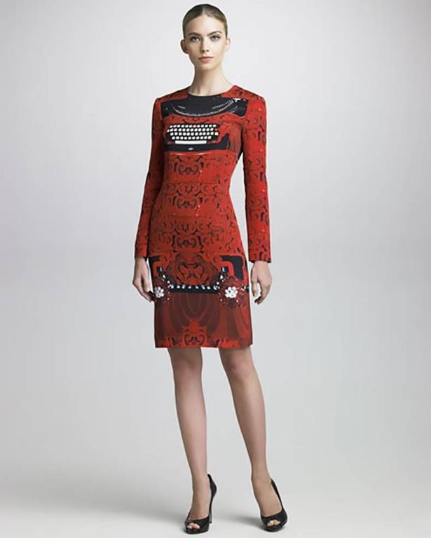 Mary Katrantzou Silk Jersey Typewriter Dress For Sale 3