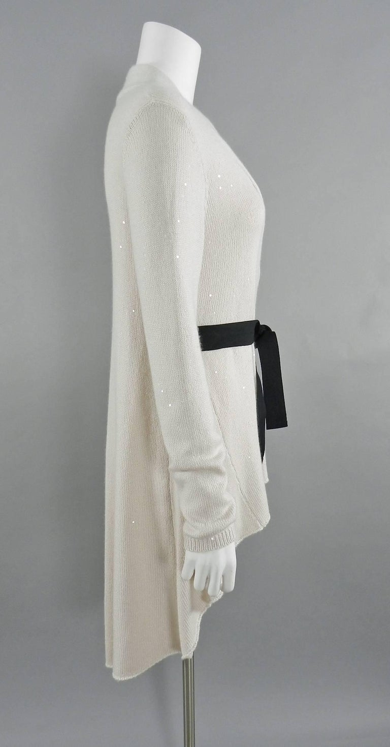 brunello cucinelli ivory cashmere sequin sweater cardigan at 1stdibs