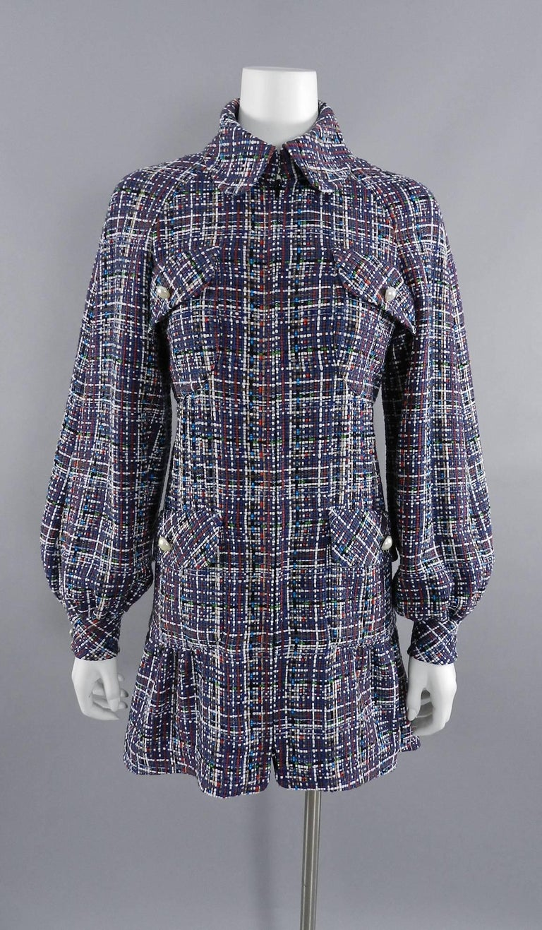 Women's Chanel 17P 2017 Spring Navy / multi tweed Coat w Pearl Buttons For Sale
