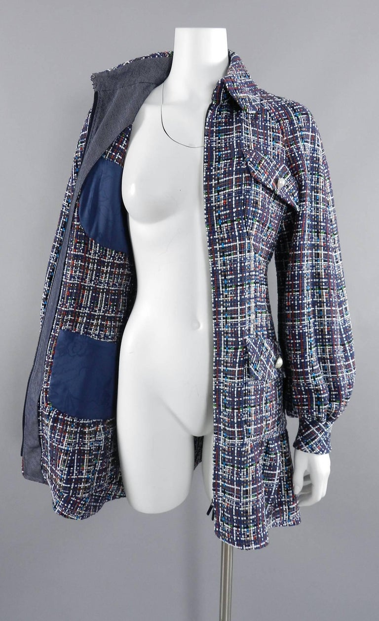 Chanel 17P 2017 Spring Navy / multi tweed Coat w Pearl Buttons For Sale 1