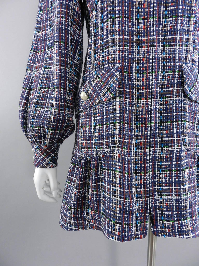 Chanel 17P 2017 Spring Navy / multi tweed Coat w Pearl Buttons For Sale 2