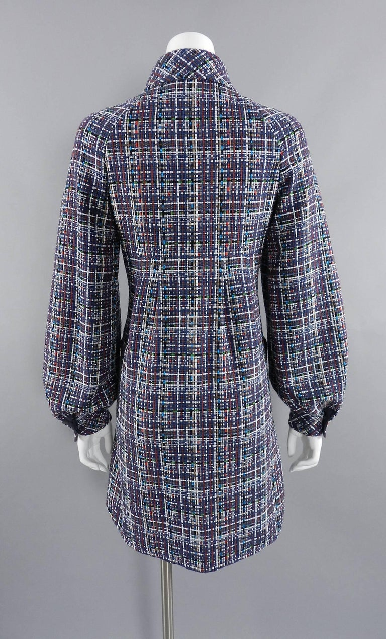 Chanel 17P 2017 Spring Navy / multi tweed Coat w Pearl Buttons For Sale 3