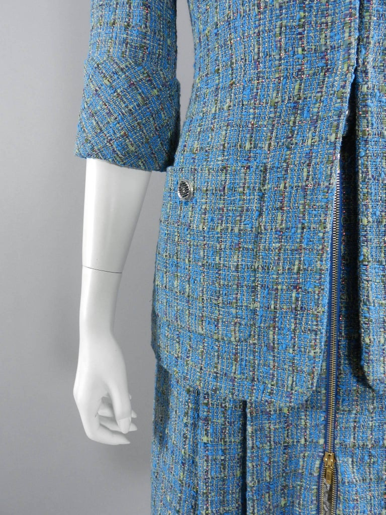chanel 17s 2017 runway turquoise blue tweed skirt suit for