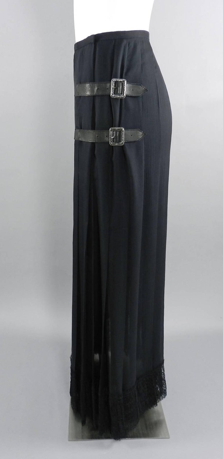 Chanel Edinburgh 13A 2013 Runway Long Black silk Skirt with Lace Hem In Excellent Condition For Sale In Toronto, CA