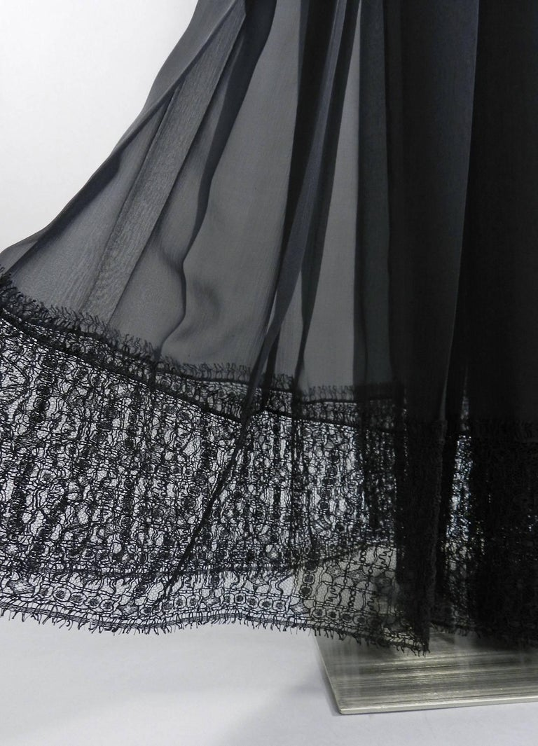 Chanel Edinburgh 13A 2013 Runway Long Black silk Skirt with Lace Hem For Sale 3