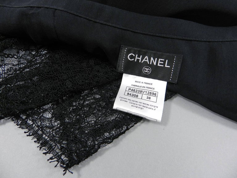 Chanel Edinburgh 13A 2013 Runway Long Black silk Skirt with Lace Hem For Sale 5