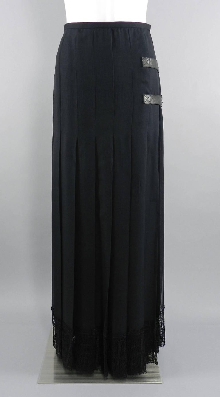 Chanel Edinburgh 13A 2013 Runway Long Black silk Skirt with Lace Hem For Sale 6