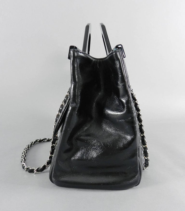d40fc6463f33 Chanel 15B Small Glazed Black CC delivery tote. Double resin handle design,  open tote