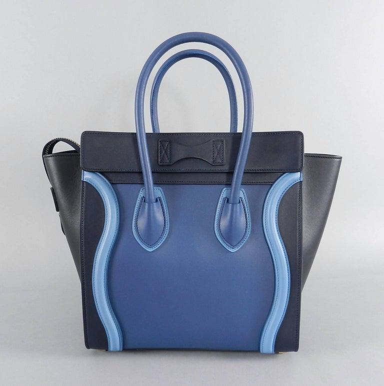 Celine Micro Luggage Phantom Bag Tri Tone Blue