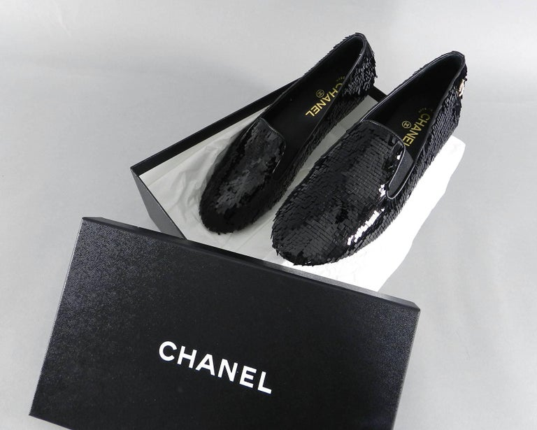 Chanel Lesage Sequin Black Loafers Shoes New in Box 2