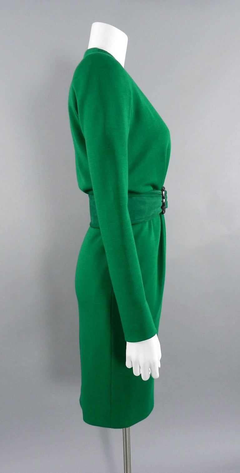 YSL Yves Saint Laurent Haute Couture Vintage 1990's Green Wool Knit Jersey Dress 2