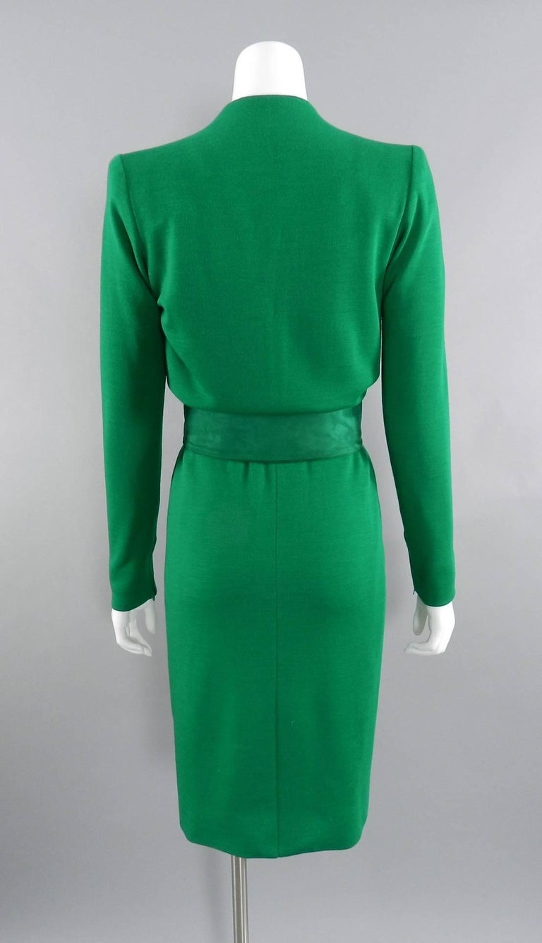 YSL Yves Saint Laurent Haute Couture Vintage 1990's Green Wool Knit Jersey Dress 3