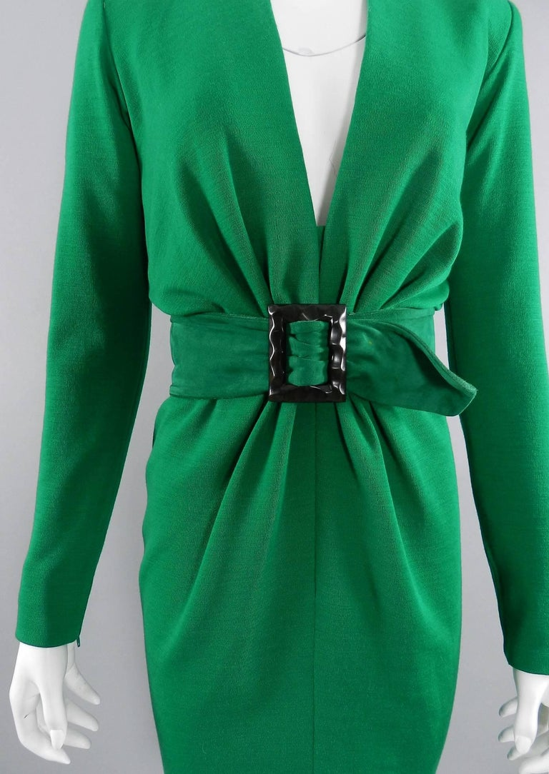 YSL Yves Saint Laurent Haute Couture Vintage 1990's Green Wool Knit Jersey Dress 4