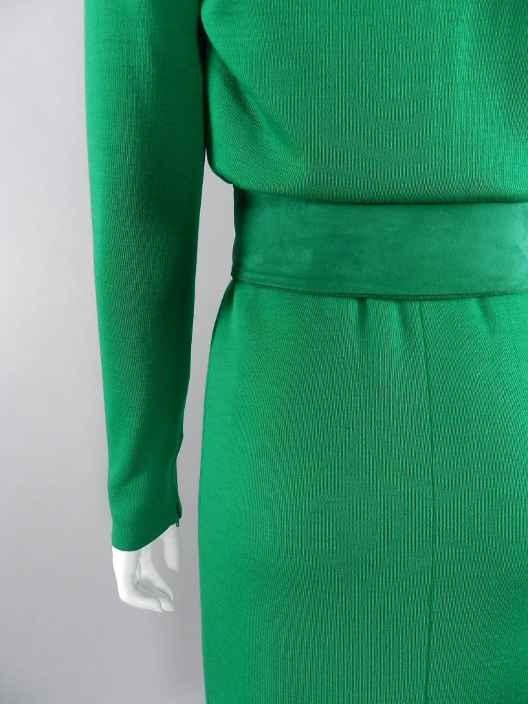 YSL Yves Saint Laurent Haute Couture Vintage 1990's Green Wool Knit Jersey Dress 5