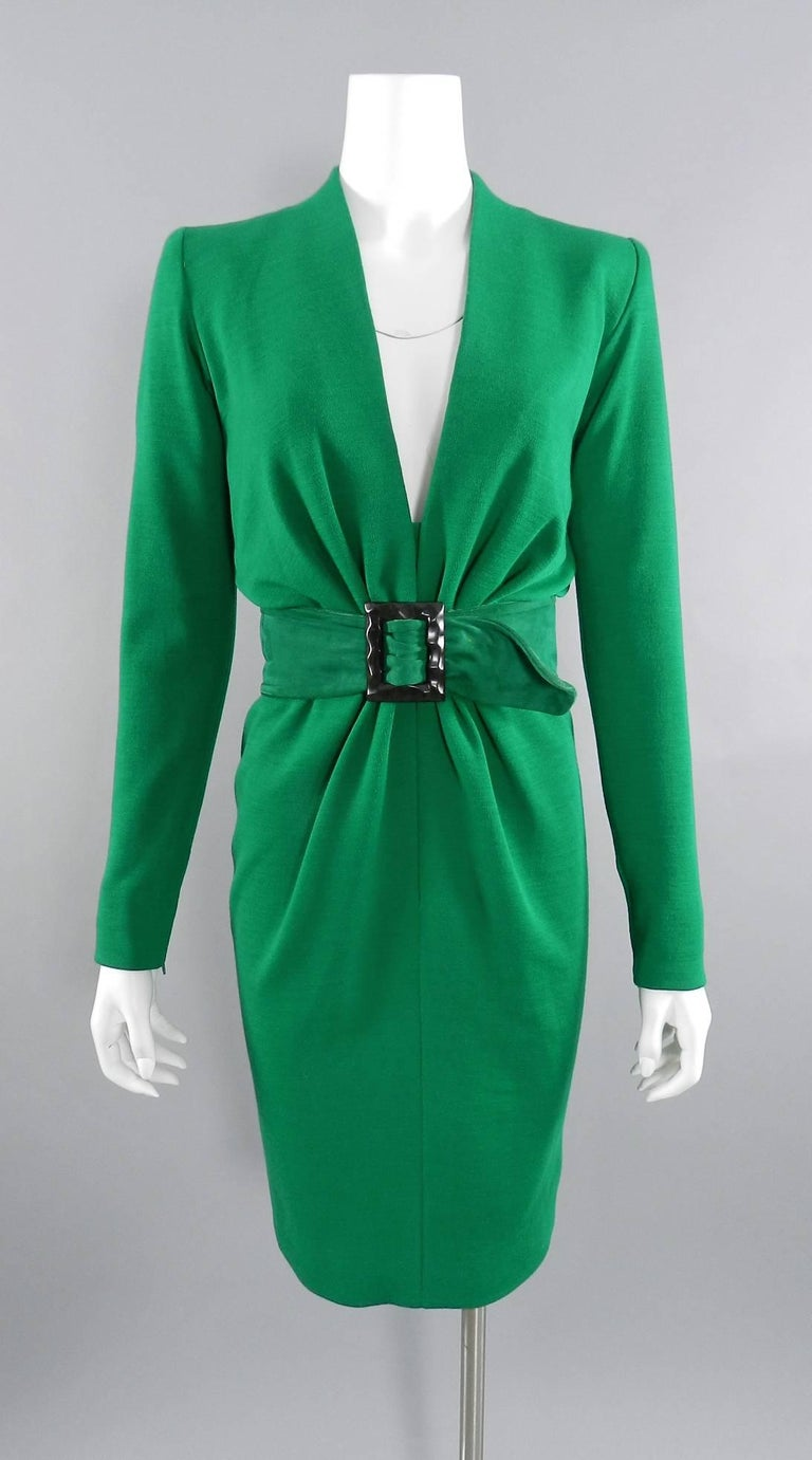 YSL Yves Saint Laurent Haute Couture Vintage 1990's Green Wool Knit Jersey Dress 9