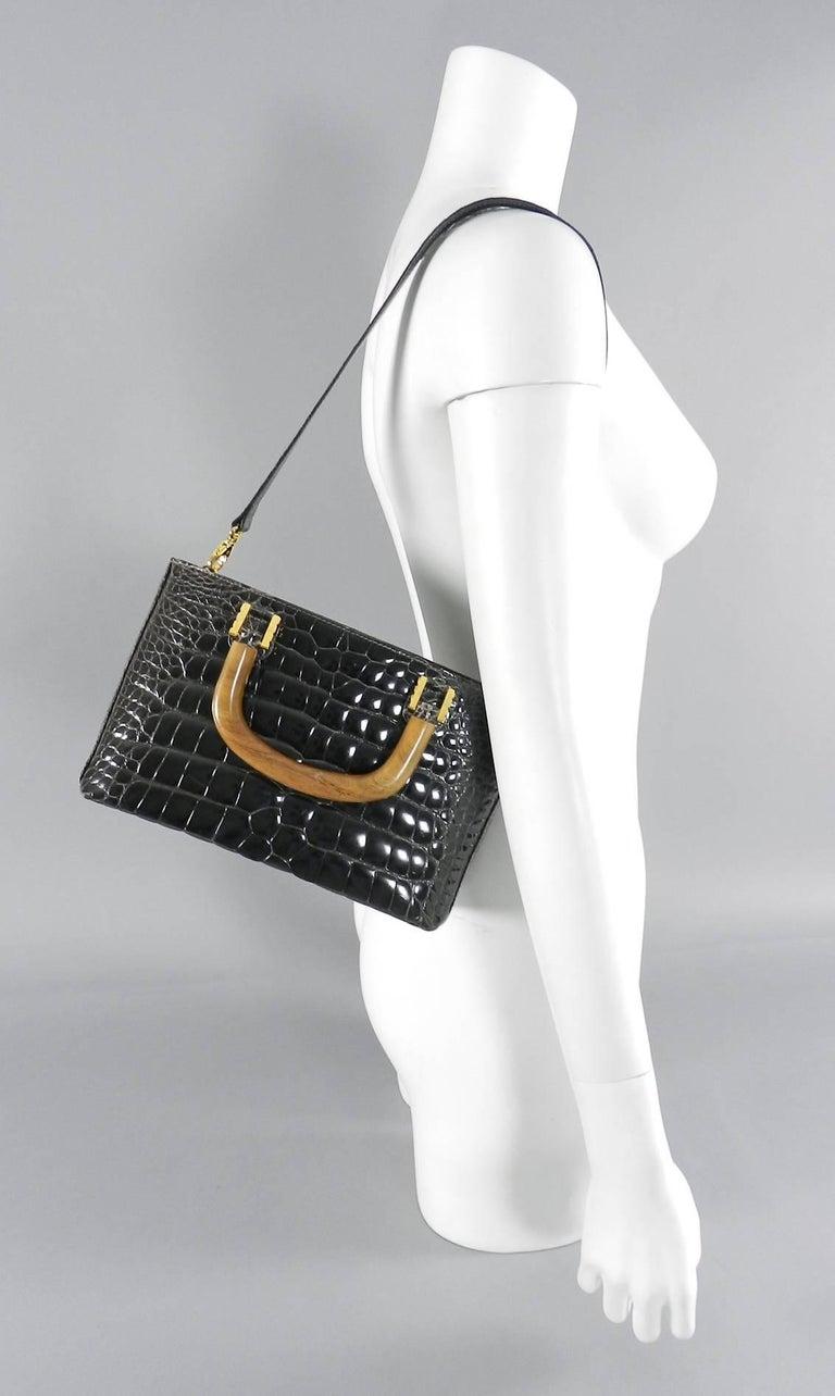 Black Lana Marks Dark Grey Crocodile Bag with Wood Handles For Sale