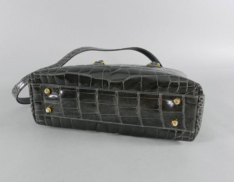 Women's Lana Marks Dark Grey Crocodile Bag with Wood Handles For Sale