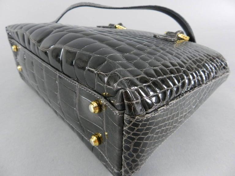 Lana Marks Dark Grey Crocodile Bag with Wood Handles For Sale 1