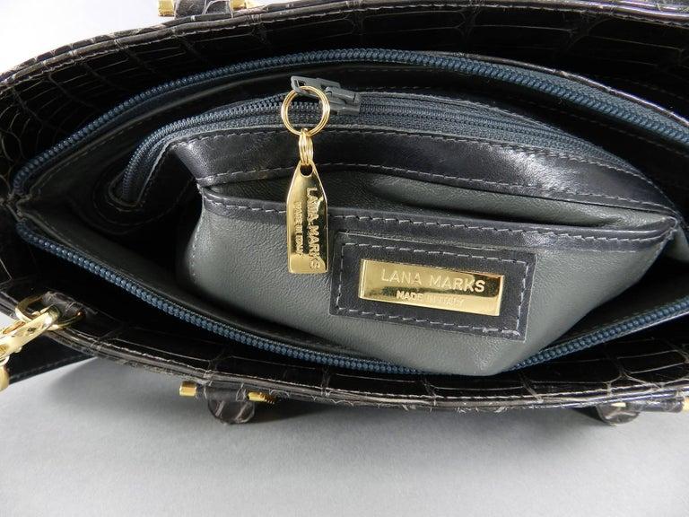 Lana Marks Dark Grey Crocodile Bag with Wood Handles For Sale 3