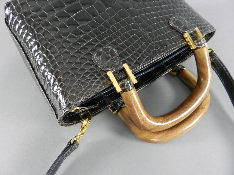 Lana Marks Dark Grey Crocodile Bag with Wood Handles For Sale 4