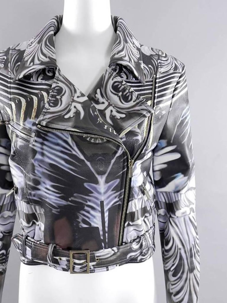 Mary Katrantzou Gray Photoprint Leather Motorcycle Jacket 4