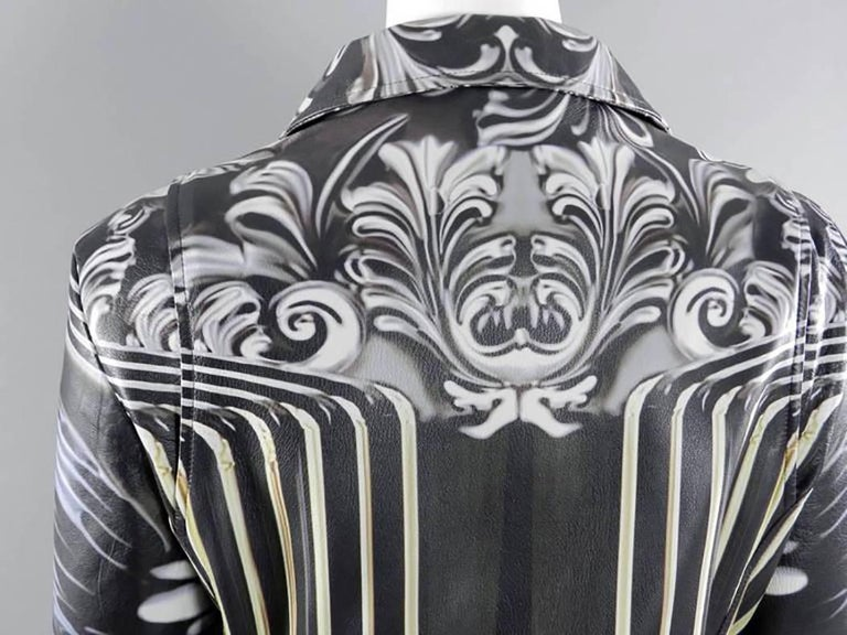 Mary Katrantzou Gray Photoprint Leather Motorcycle Jacket 5